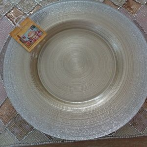TURKISH DELIGHTS GOLD SILVER GLASS DINNER PLATES 4